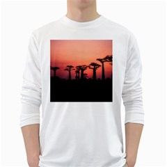 Baobabs Trees Silhouette Landscape White Long Sleeve T Shirts by BangZart