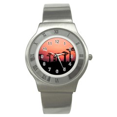 Baobabs Trees Silhouette Landscape Stainless Steel Watch