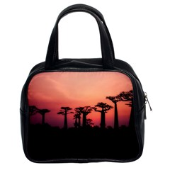 Baobabs Trees Silhouette Landscape Classic Handbags (2 Sides) by BangZart