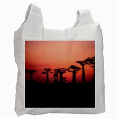 Baobabs Trees Silhouette Landscape Recycle Bag (two Side)