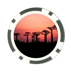 Baobabs Trees Silhouette Landscape Poker Chip Card Guard (10 Pack)