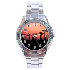 Baobabs Trees Silhouette Landscape Stainless Steel Analogue Watch