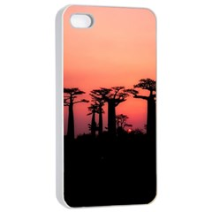 Baobabs Trees Silhouette Landscape Apple Iphone 4/4s Seamless Case (white)