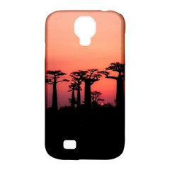 Baobabs Trees Silhouette Landscape Samsung Galaxy S4 Classic Hardshell Case (pc+silicone)