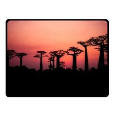 Baobabs Trees Silhouette Landscape Double Sided Fleece Blanket (small)