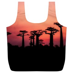 Baobabs Trees Silhouette Landscape Full Print Recycle Bags (l)