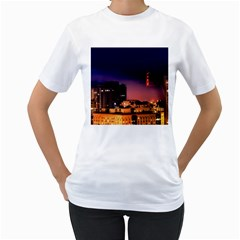 San Francisco Night Evening Lights Women s T Shirt (white) (two Sided)