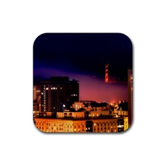 San Francisco Night Evening Lights Rubber Square Coaster (4 Pack)  by BangZart