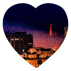 San Francisco Night Evening Lights Jigsaw Puzzle (heart)