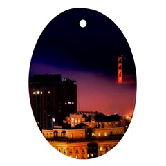 San Francisco Night Evening Lights Oval Ornament (two Sides)