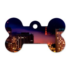 San Francisco Night Evening Lights Dog Tag Bone (two Sides)