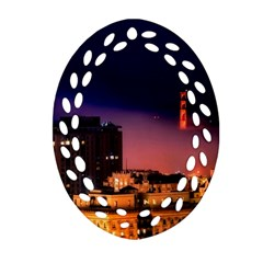 San Francisco Night Evening Lights Oval Filigree Ornament (two Sides)