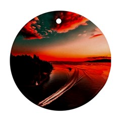 Sunset Dusk Boat Sea Ocean Water Ornament (round) by BangZart