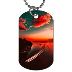 Sunset Dusk Boat Sea Ocean Water Dog Tag (two Sides) by BangZart