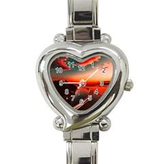 Sunset Dusk Boat Sea Ocean Water Heart Italian Charm Watch