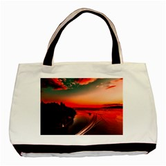 Sunset Dusk Boat Sea Ocean Water Basic Tote Bag (two Sides)