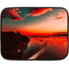 Sunset Dusk Boat Sea Ocean Water Double Sided Fleece Blanket (mini)