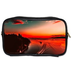 Sunset Dusk Boat Sea Ocean Water Toiletries Bags