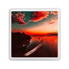 Sunset Dusk Boat Sea Ocean Water Memory Card Reader (square)