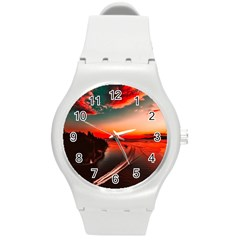 Sunset Dusk Boat Sea Ocean Water Round Plastic Sport Watch (m)