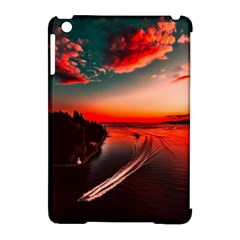 Sunset Dusk Boat Sea Ocean Water Apple Ipad Mini Hardshell Case (compatible With Smart Cover) by BangZart