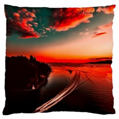 Sunset Dusk Boat Sea Ocean Water Large Flano Cushion Case (two Sides)