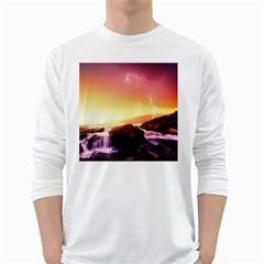 California Sea Ocean Pacific White Long Sleeve T Shirts by BangZart