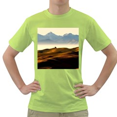 Landscape Mountains Nature Outdoors Green T Shirt by BangZart