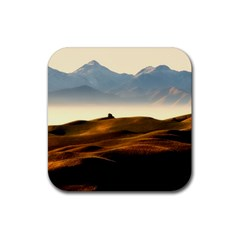 Landscape Mountains Nature Outdoors Rubber Square Coaster (4 Pack)