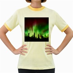Aurora Borealis Northern Lights Women s Fitted Ringer T Shirts