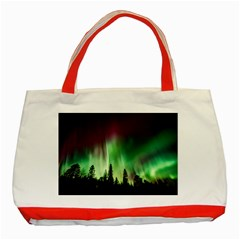 Aurora Borealis Northern Lights Classic Tote Bag (red)