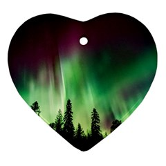 Aurora Borealis Northern Lights Heart Ornament (two Sides)