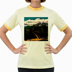 Italy Valley Canyon Mountains Sky Women s Fitted Ringer T Shirts