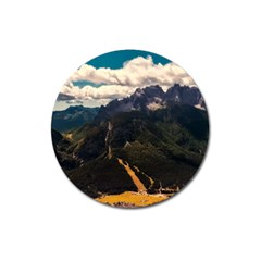 Italy Valley Canyon Mountains Sky Magnet 3  (round)