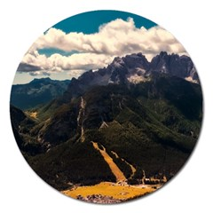 Italy Valley Canyon Mountains Sky Magnet 5  (round) by BangZart