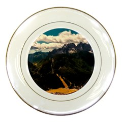 Italy Valley Canyon Mountains Sky Porcelain Plates