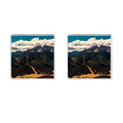 Italy Valley Canyon Mountains Sky Cufflinks (square) by BangZart