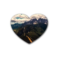 Italy Valley Canyon Mountains Sky Heart Coaster (4 Pack)