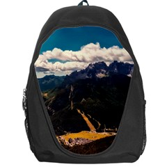 Italy Valley Canyon Mountains Sky Backpack Bag