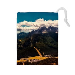 Italy Valley Canyon Mountains Sky Drawstring Pouches (large)  by BangZart