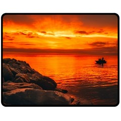 Alabama Sunset Dusk Boat Fishing Fleece Blanket (medium)