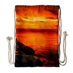 Alabama Sunset Dusk Boat Fishing Drawstring Bag (large)