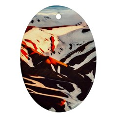 Iceland Landscape Mountains Snow Ornament (oval) by BangZart