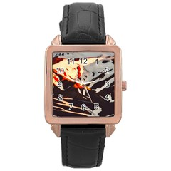 Iceland Landscape Mountains Snow Rose Gold Leather Watch