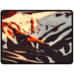 Iceland Landscape Mountains Snow Double Sided Fleece Blanket (large)