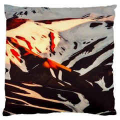 Iceland Landscape Mountains Snow Large Flano Cushion Case (one Side)