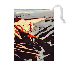 Iceland Landscape Mountains Snow Drawstring Pouches (extra Large)