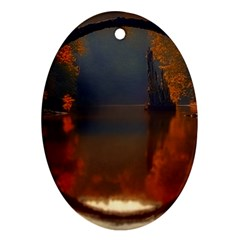 River Water Reflections Autumn Ornament (oval)