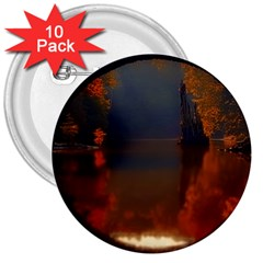 River Water Reflections Autumn 3  Buttons (10 Pack)  by BangZart