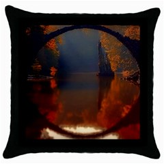 River Water Reflections Autumn Throw Pillow Case (black) by BangZart